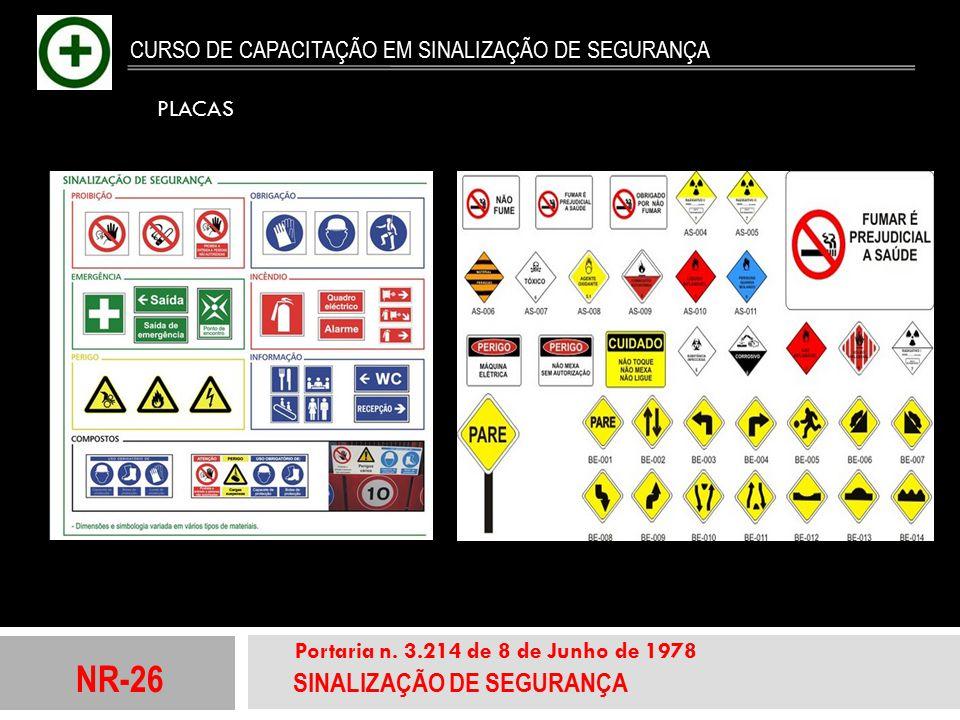 NR-26 SINALIZAÇÃO DE SEGURANÇA Portaria n. 3.214 de 8 de Junho de 1978 CURSO DE CAPACITAÇÃO EM SINALIZAÇÃO DE SEGURANÇA PLACAS