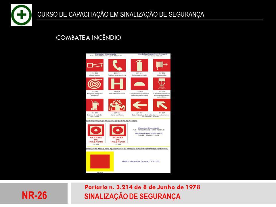 NR-26 SINALIZAÇÃO DE SEGURANÇA Portaria n. 3.214 de 8 de Junho de 1978 CURSO DE CAPACITAÇÃO EM SINALIZAÇÃO DE SEGURANÇA COMBATE A INCÊNDIO