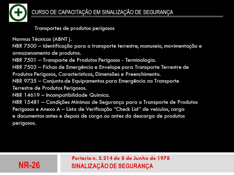 NR-26 SINALIZAÇÃO DE SEGURANÇA Portaria n. 3.214 de 8 de Junho de 1978 CURSO DE CAPACITAÇÃO EM SINALIZAÇÃO DE SEGURANÇA Normas Técnicas (ABNT ). NBR 7
