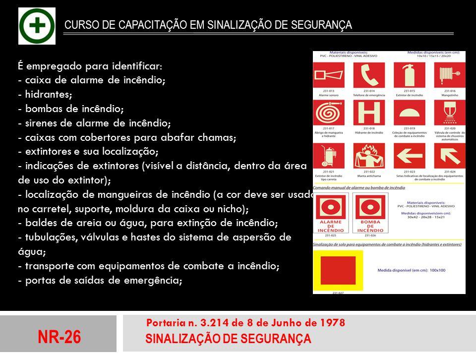 NR-26 SINALIZAÇÃO DE SEGURANÇA Portaria n. 3.214 de 8 de Junho de 1978 CURSO DE CAPACITAÇÃO EM SINALIZAÇÃO DE SEGURANÇA É empregado para identificar: