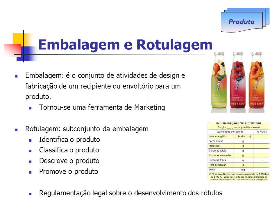 Embalagem e Rotulagem Embalagem: é o conjunto de atividades de design e fabricação de um recipiente ou envoltório para um produto.