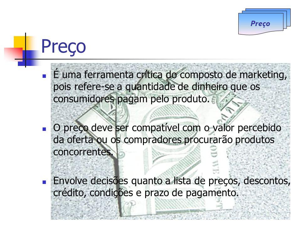 Preço É uma ferramenta crítica do composto de marketing, pois refere-se a quantidade de dinheiro que os consumidores pagam pelo produto. O preço deve
