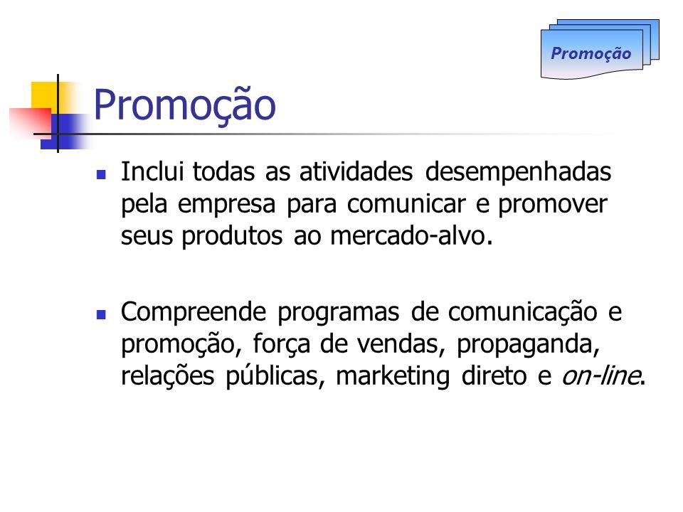Promoção Inclui todas as atividades desempenhadas pela empresa para comunicar e promover seus produtos ao mercado-alvo. Compreende programas de comuni