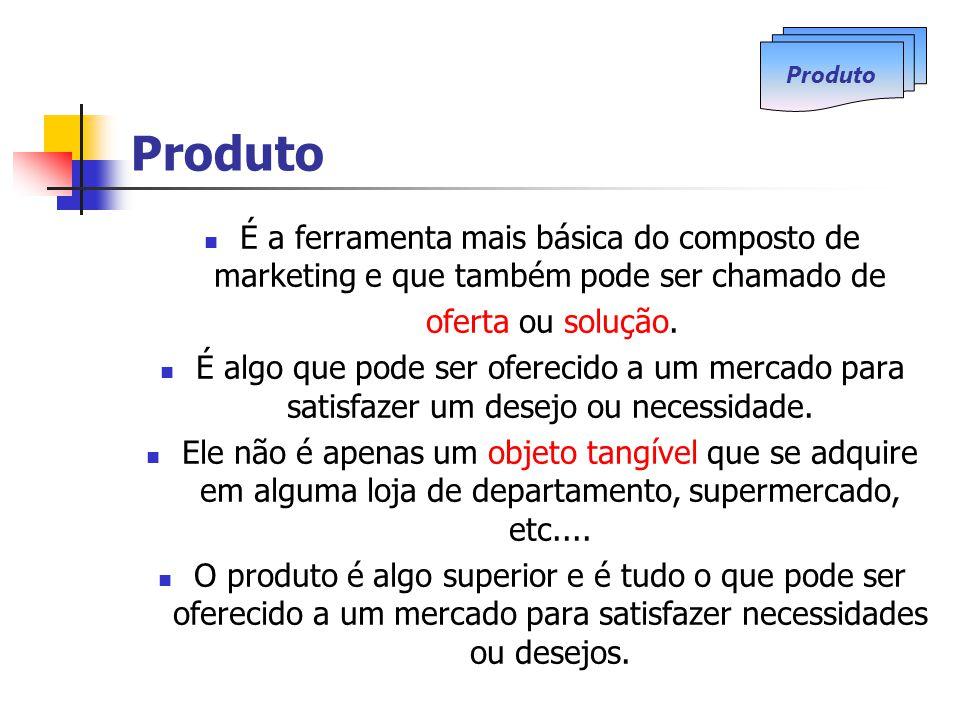 Produto É a ferramenta mais básica do composto de marketing e que também pode ser chamado de oferta ou solução.