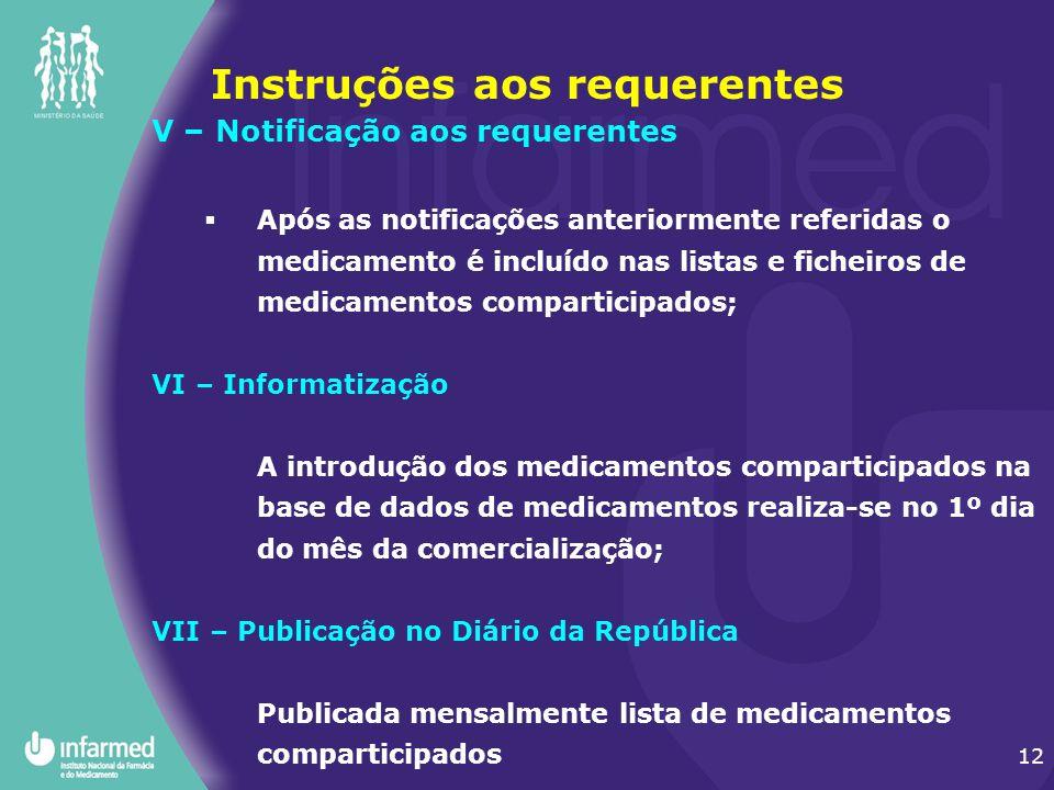12 Instruções aos requerentes V – Notificação aos requerentes  Após as notificações anteriormente referidas o medicamento é incluído nas listas e fic