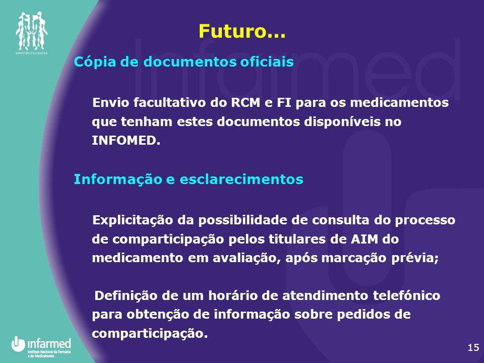 15 Futuro... Cópia de documentos oficiais Envio facultativo do RCM e FI para os medicamentos que tenham estes documentos disponíveis no INFOMED. Infor