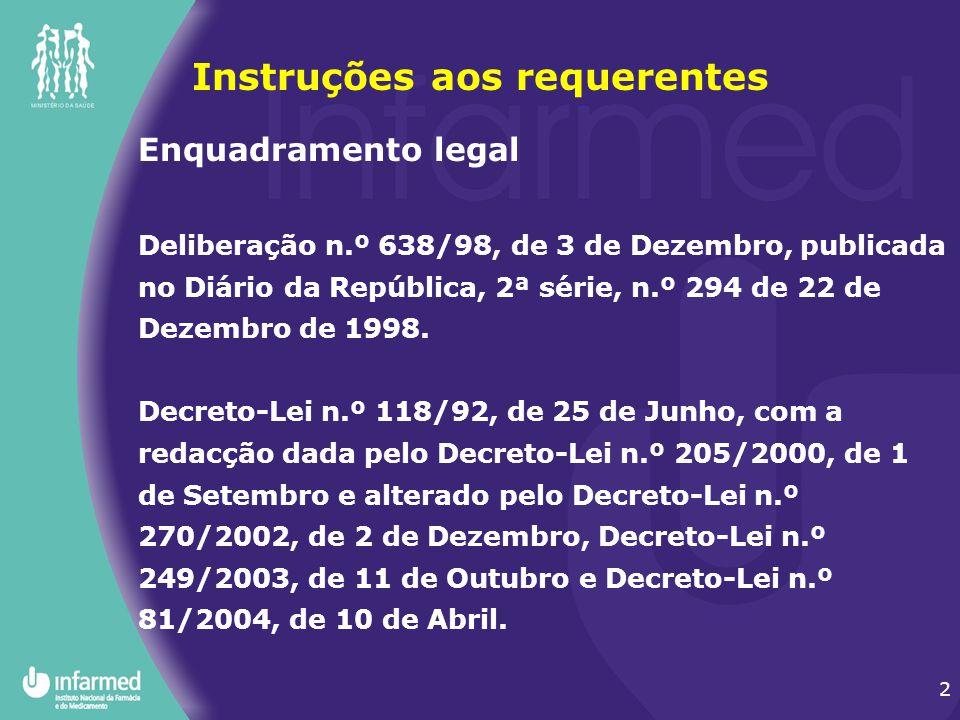 2 Enquadramento legal Deliberação n.º 638/98, de 3 de Dezembro, publicada no Diário da República, 2ª série, n.º 294 de 22 de Dezembro de 1998. Decreto