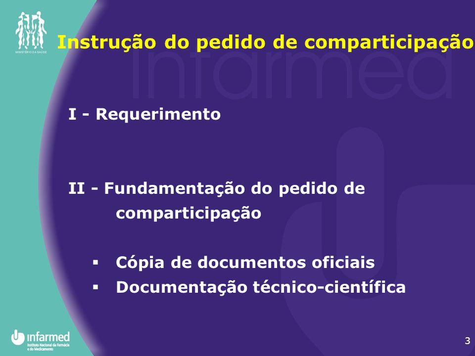 3 I - Requerimento II - Fundamentação do pedido de comparticipação  Cópia de documentos oficiais  Documentação técnico-científica Instrução do pedid