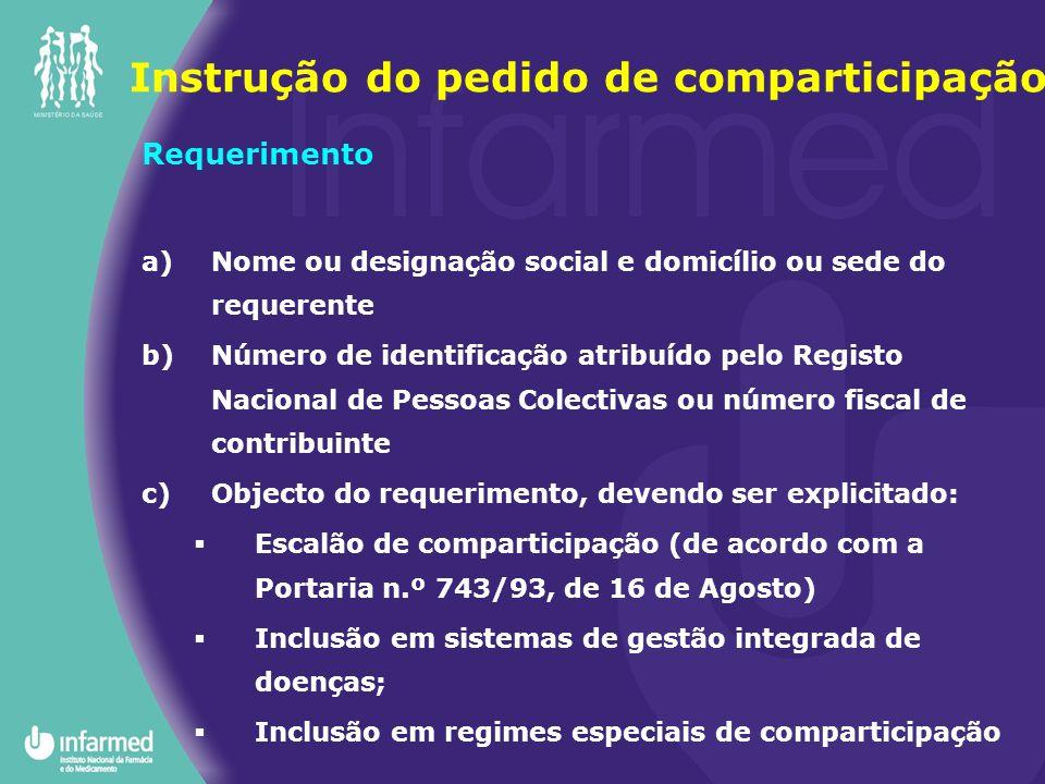 Requerimento a)Nome ou designação social e domicílio ou sede do requerente b)Número de identificação atribuído pelo Registo Nacional de Pessoas Colect