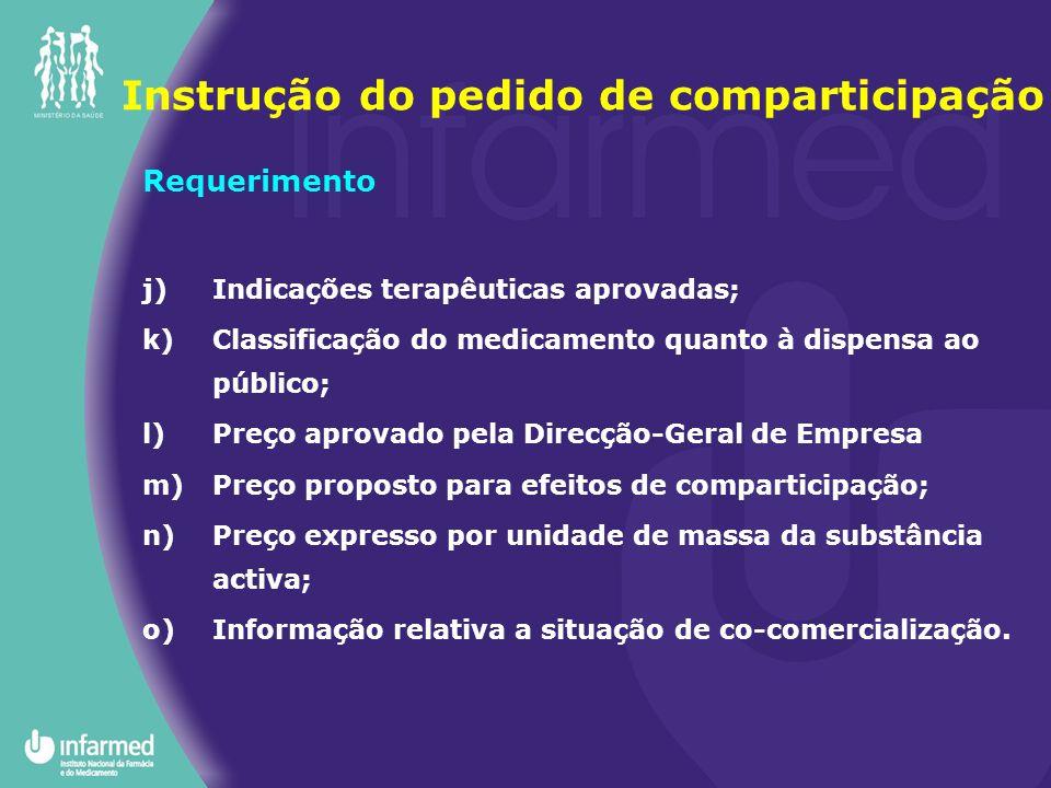 Requerimento j)Indicações terapêuticas aprovadas; k)Classificação do medicamento quanto à dispensa ao público; l)Preço aprovado pela Direcção-Geral de