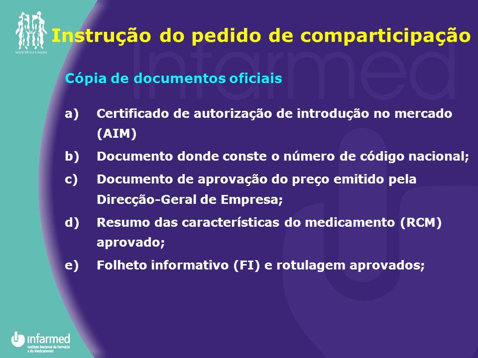 Instrução do pedido de comparticipação Cópia de documentos oficiais a)Certificado de autorização de introdução no mercado (AIM) b)Documento donde cons