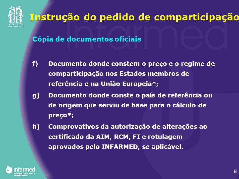8 Cópia de documentos oficiais f)Documento donde constem o preço e o regime de comparticipação nos Estados membros de referência e na União Europeia*;