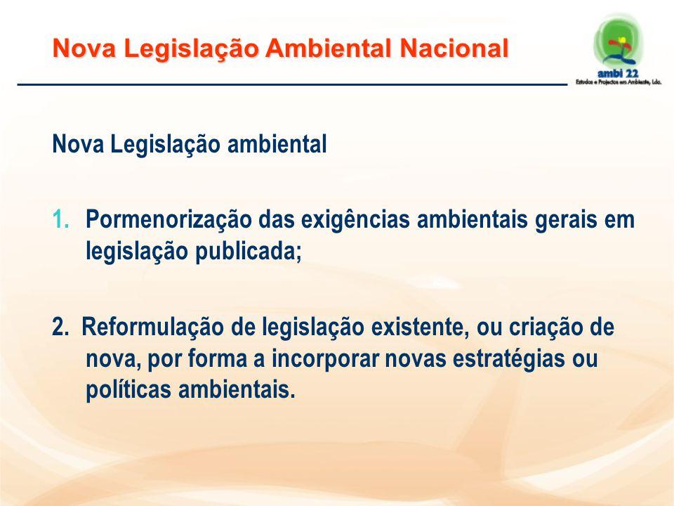 Nova Legislação Ambiental Nacional Nova Legislação ambiental 1.Pormenorização das exigências ambientais gerais em legislação publicada; 2.