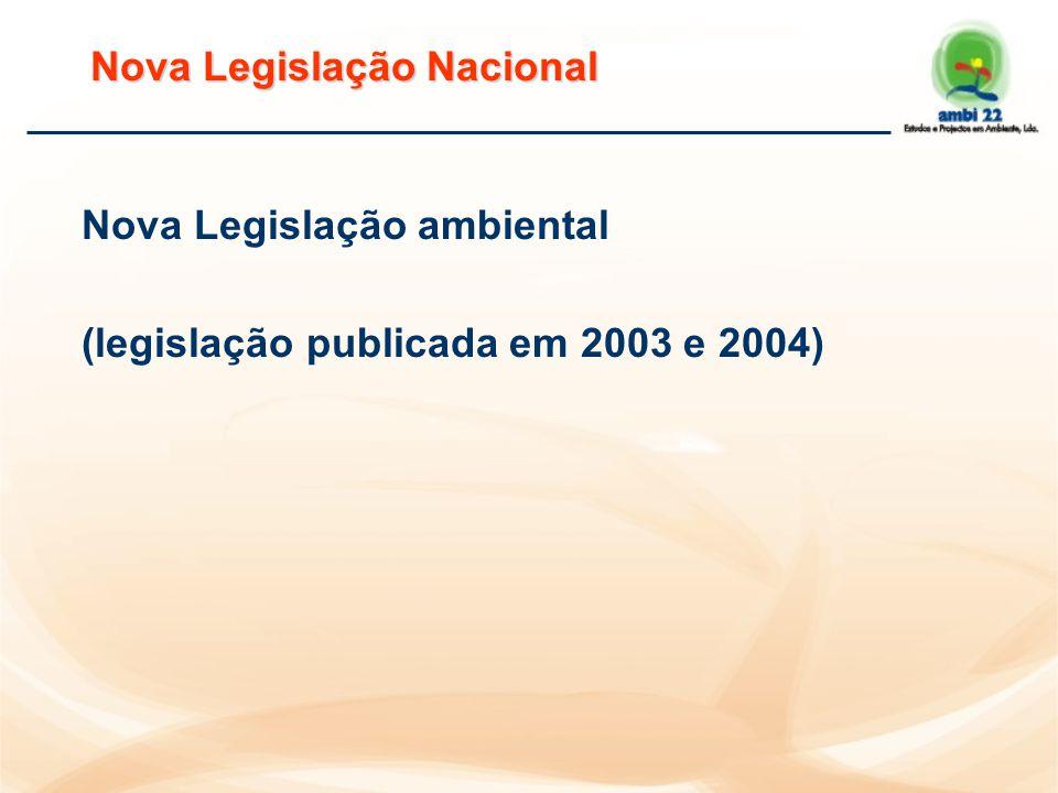 Nova Legislação Nacional Nova Legislação ambiental (legislação publicada em 2003 e 2004)