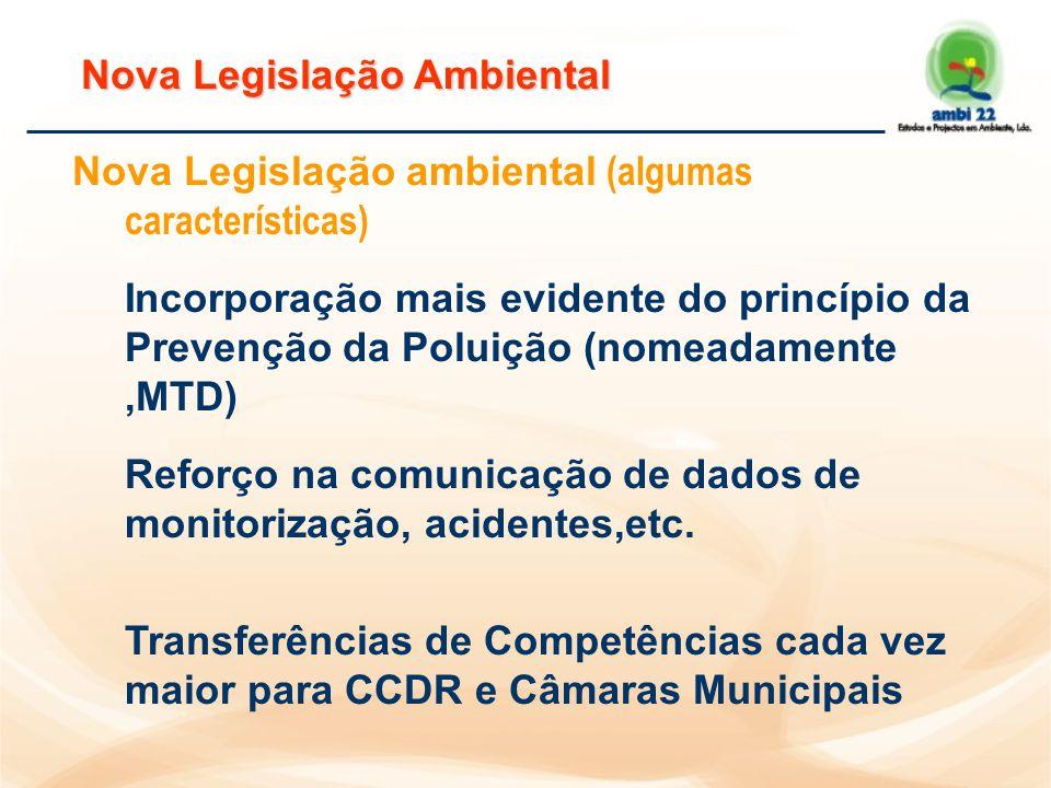 Nova Legislação Ambiental Nova Legislação ambiental (algumas características) Incorporação mais evidente do princípio da Prevenção da Poluição (nomeadamente,MTD) Reforço na comunicação de dados de monitorização, acidentes,etc.