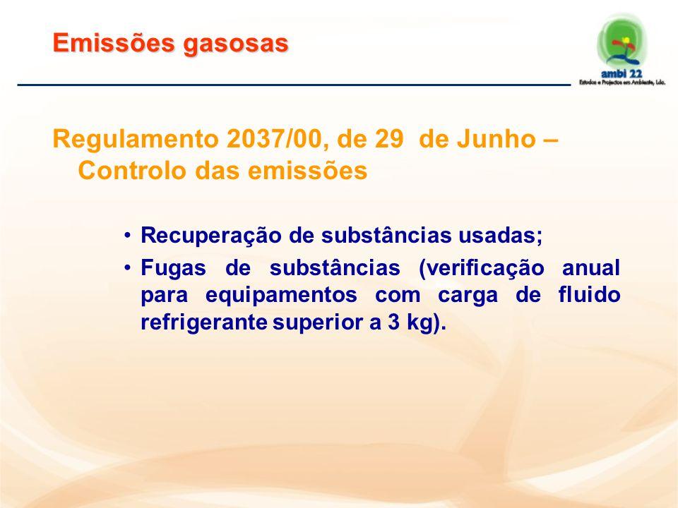 Regulamento 2037/00, de 29 de Junho – Calendário de eliminação progressiva Controlo da produção; Controlo da colocação no mercado e utilização; Controlo da utilização.