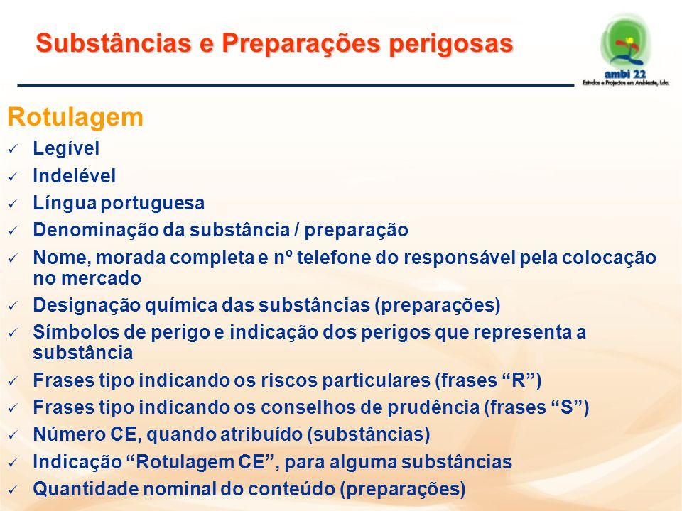 Preparações perigosas D.L 82/03, de 23 de Abril n Aprova o Regulamento para a Classificação, Embalagem, Rotulagem e Fichas de Dados de Segurança de Preparações Perigosas