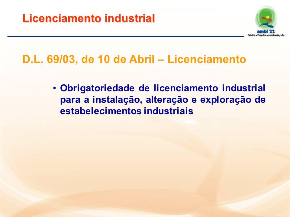 D.L. 69/03, de 10 de Abril – Objectivo  Estabelece as normas disciplinadoras do exercício da actividade industrial  Salvaguardar: a saúde pública e