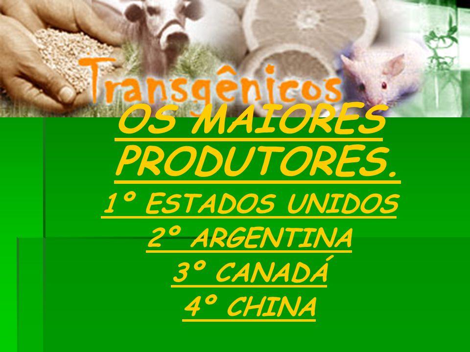 OS MAIORES PRODUTORES. 1º ESTADOS UNIDOS 2º ARGENTINA 3º CANADÁ 4º CHINA