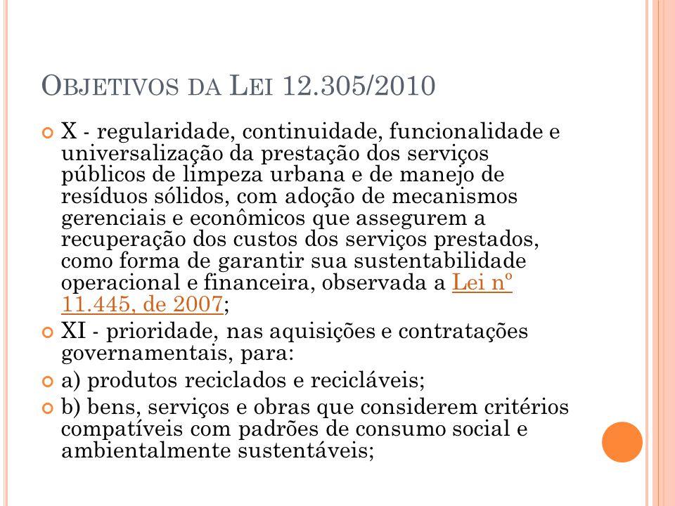 O BJETIVOS DA L EI 12.305/2010 X - regularidade, continuidade, funcionalidade e universalização da prestação dos serviços públicos de limpeza urbana e