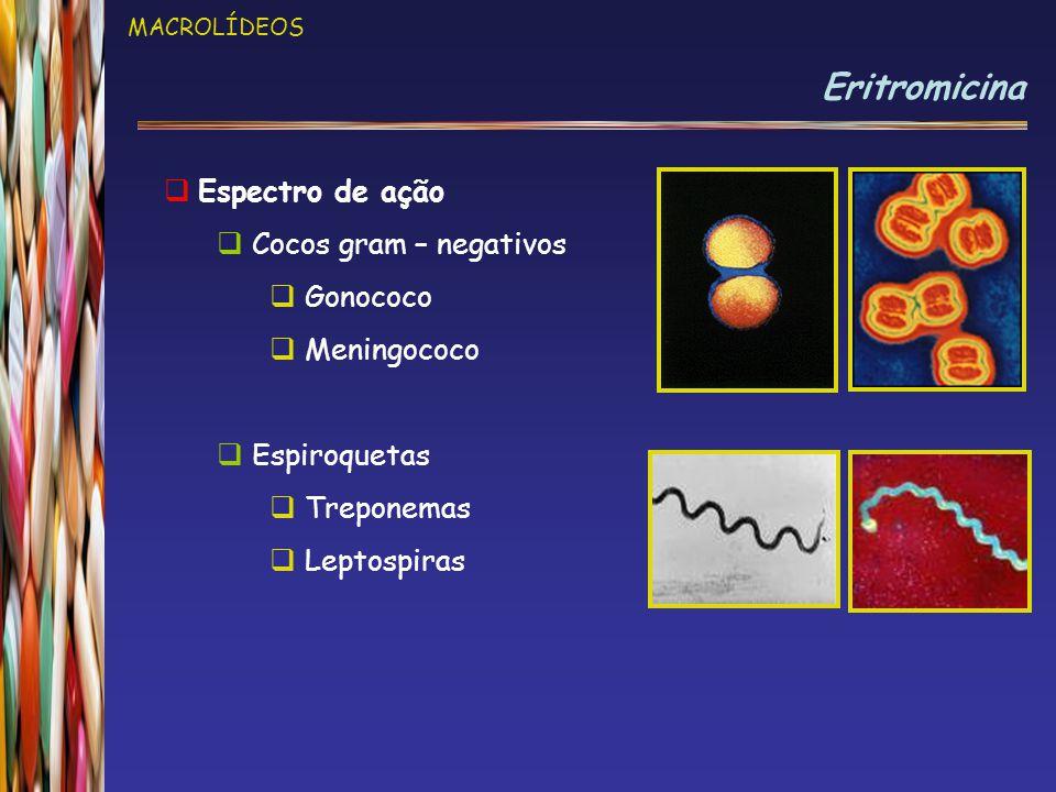 MACROLÍDEOS Eritromicina  Espectro de ação  Cocos gram – negativos  Gonococo  Meningococo  Espiroquetas  Treponemas  Leptospiras
