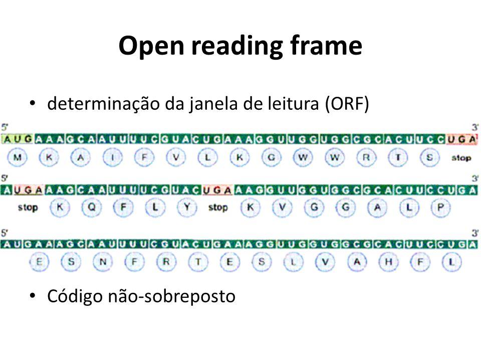 Open reading frame determinação da janela de leitura (ORF) Código não-sobreposto