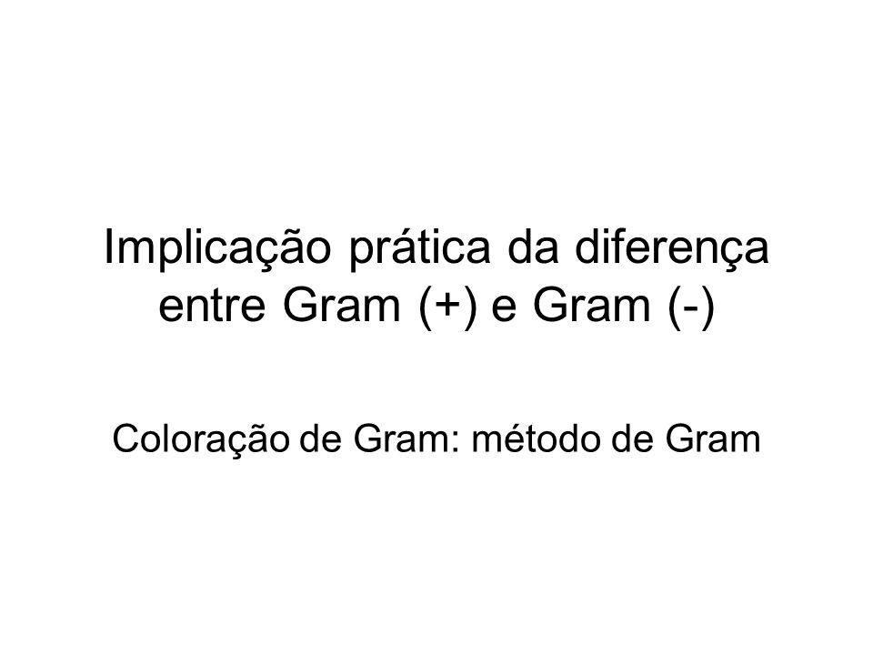 Implicação prática da diferença entre Gram (+) e Gram (-) Coloração de Gram: método de Gram