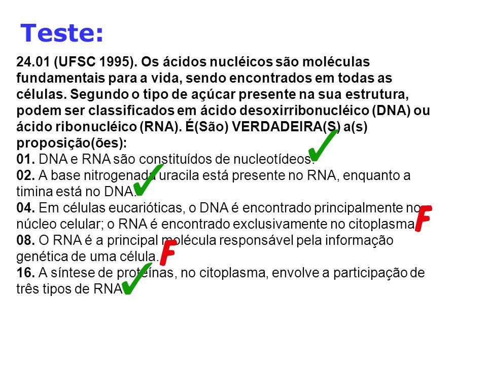 Teste: 24.01 (UFSC 1995). Os ácidos nucléicos são moléculas fundamentais para a vida, sendo encontrados em todas as células. Segundo o tipo de açúcar