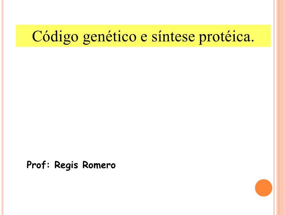 Prof: Regis Romero Código genético e síntese protéica.