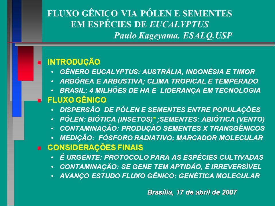 O GÊNEROEUCALYPTUSNO BRASIL O GÊNERO EUCALYPTUS NO BRASIL HISTÓRICO NAVARRO DE ANDRADE: 120 ESPÉCIES DE EUCALYPTUS 20 ANOS: PRODUTIVIDADE 15 M3/HA/ANO - 45 M3/HA/ANO EXISTEM VARIEDADES MELHORADAS DE MULTIPLO USO ESPÉCIES DE EUCALYPTUS EUCALYPTUS: SPP ALÓGAMAS: POLINIZAÇÃO CRUZADA POLINIZAÇÃO ANIMAL: INSETOS (MAIORIA) E PÁSSAROS DISPERSÃO SEMENTES PELO VENTO: SEMENTES TIPO PÓ FLUXO GÊNICO: PÓLEN E SEMENTES PÓLEN: VAI FORMAR A SEMENTE HÍBRIDA NA POPULAÇÃO SEMENTE: APÓS GERMINAR, PLANTA OGM NA POPULAÇÃO Ö Eucalyptus é exótico e polinizado, no geral, por Apis mellifera que também é exótica