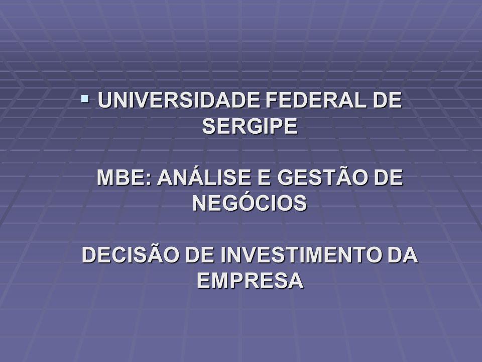  UNIVERSIDADE FEDERAL DE SERGIPE MBE: ANÁLISE E GESTÃO DE NEGÓCIOS DECISÃO DE INVESTIMENTO DA EMPRESA