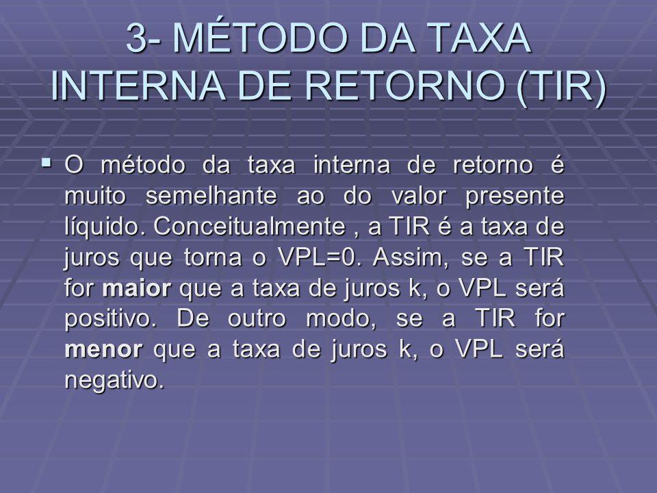 3- MÉTODO DA TAXA INTERNA DE RETORNO (TIR)  O método da taxa interna de retorno é muito semelhante ao do valor presente líquido. Conceitualmente, a T
