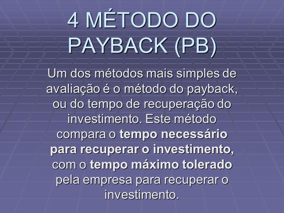 4 MÉTODO DO PAYBACK (PB) Um dos métodos mais simples de avaliação é o método do payback, ou do tempo de recuperação do investimento. Este método compa
