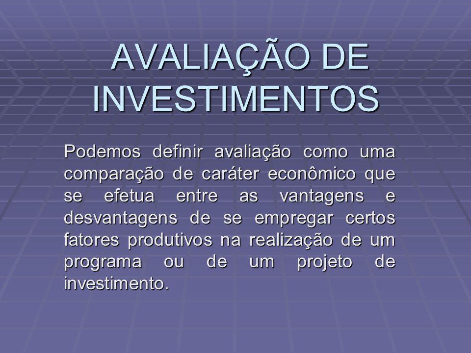AVALIAÇÃO DE INVESTIMENTOS AVALIAÇÃO DE INVESTIMENTOS Podemos definir avaliação como uma comparação de caráter econômico que se efetua entre as vantag