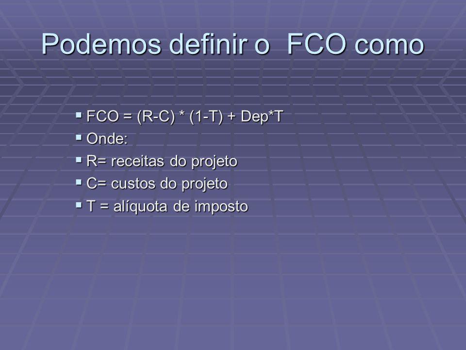 Podemos definir o FCO como  FCO = (R-C) * (1-T) + Dep*T  Onde:  R= receitas do projeto  C= custos do projeto  T = alíquota de imposto