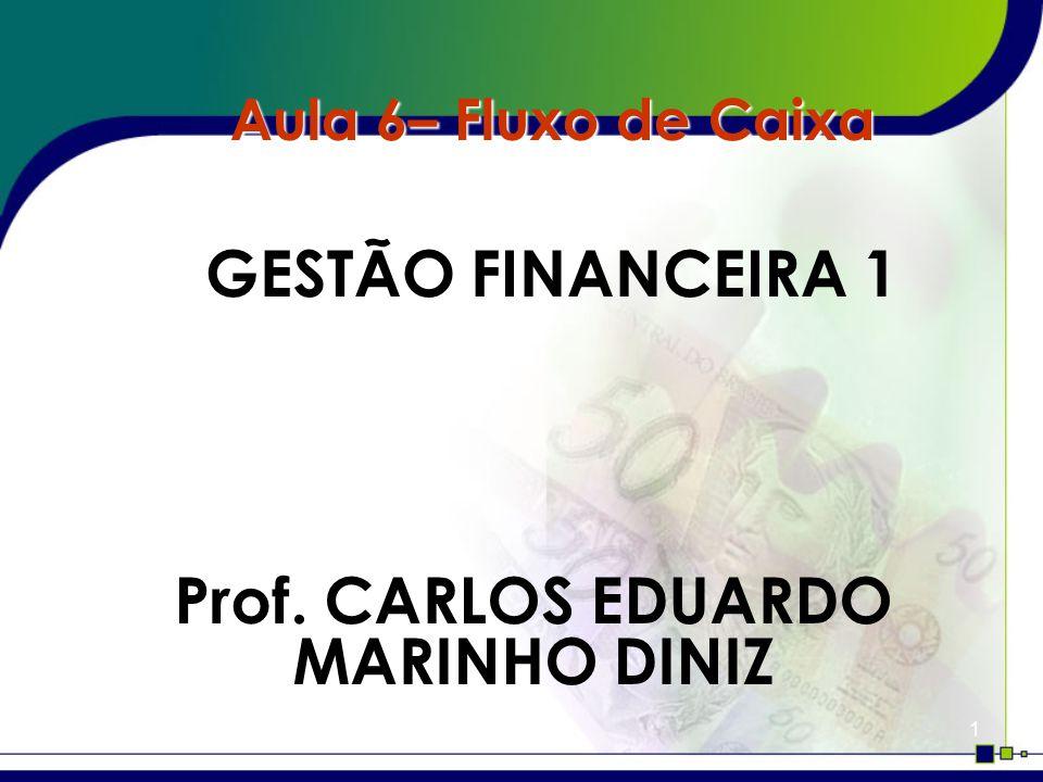 1 Aula 6– Fluxo de Caixa GESTÃO FINANCEIRA 1 Prof. CARLOS EDUARDO MARINHO DINIZ