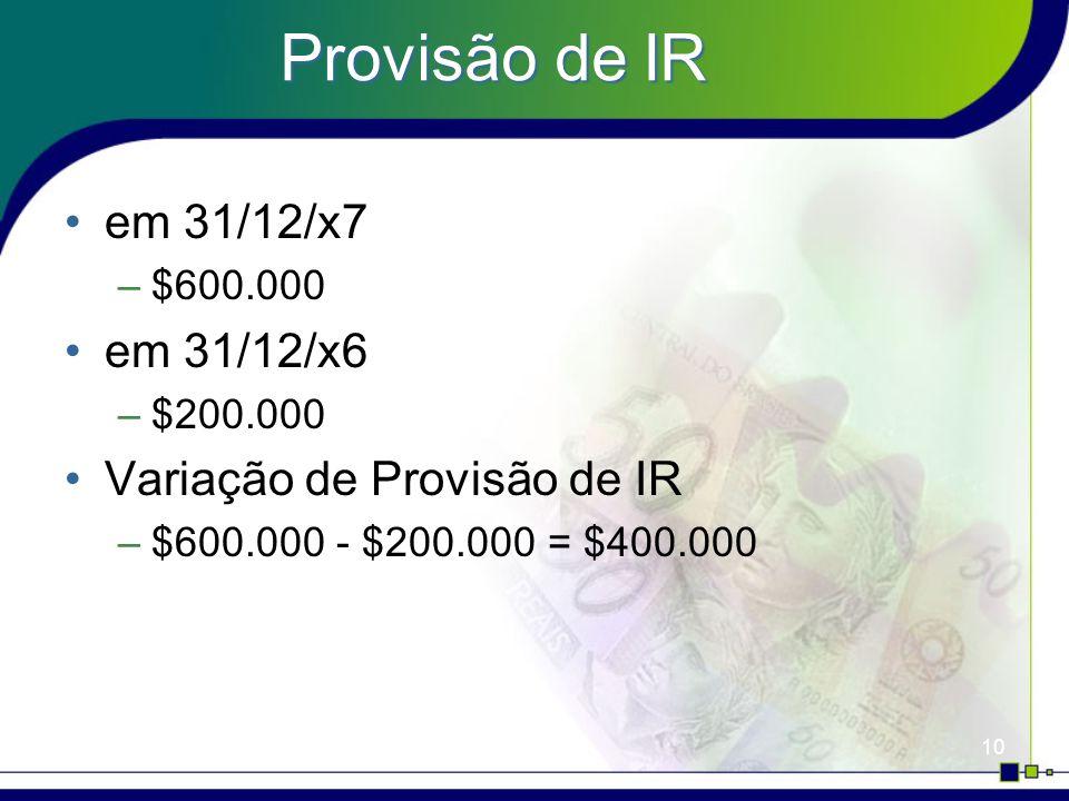 10 Provisão de IR em 31/12/x7 –$600.000 em 31/12/x6 –$200.000 Variação de Provisão de IR –$600.000 - $200.000 = $400.000