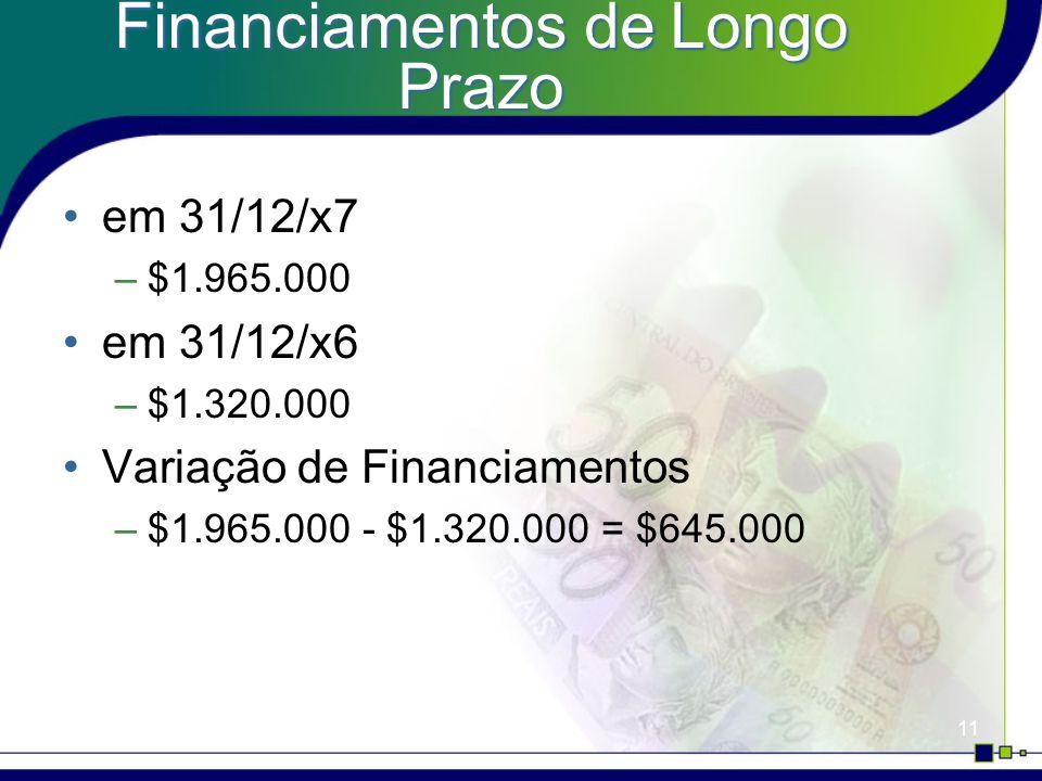 11 Financiamentos de Longo Prazo em 31/12/x7 –$1.965.000 em 31/12/x6 –$1.320.000 Variação de Financiamentos –$1.965.000 - $1.320.000 = $645.000