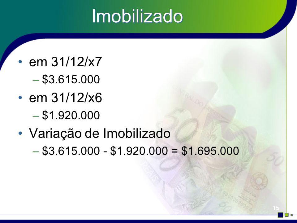 15 Imobilizado em 31/12/x7 –$3.615.000 em 31/12/x6 –$1.920.000 Variação de Imobilizado –$3.615.000 - $1.920.000 = $1.695.000
