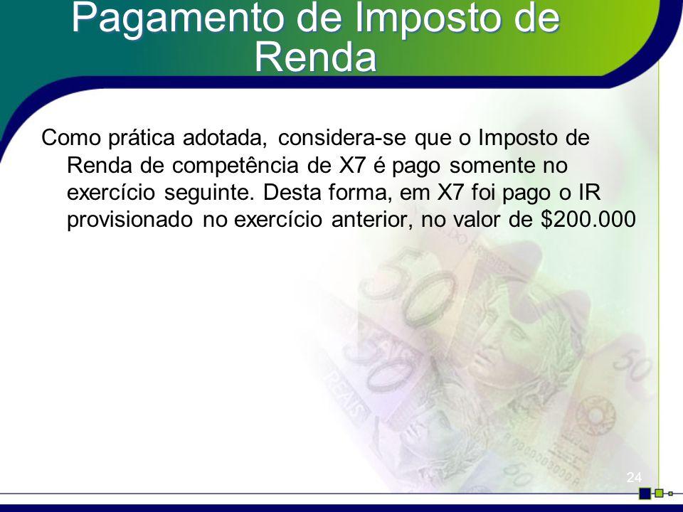 24 Pagamento de Imposto de Renda Como prática adotada, considera-se que o Imposto de Renda de competência de X7 é pago somente no exercício seguinte.