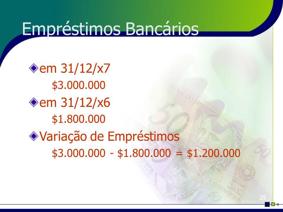 25 Empréstimos Bancários em 31/12/x7 $3.000.000 em 31/12/x6 $1.800.000 Variação de Empréstimos $3.000.000 - $1.800.000 = $1.200.000