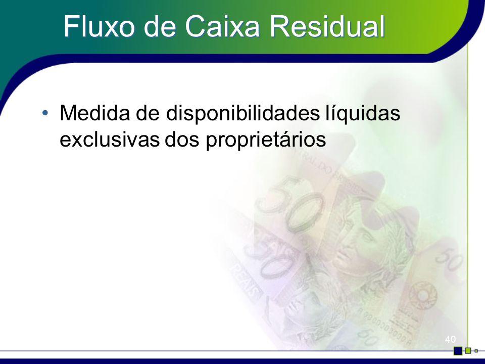 40 Fluxo de Caixa Residual Medida de disponibilidades líquidas exclusivas dos proprietários