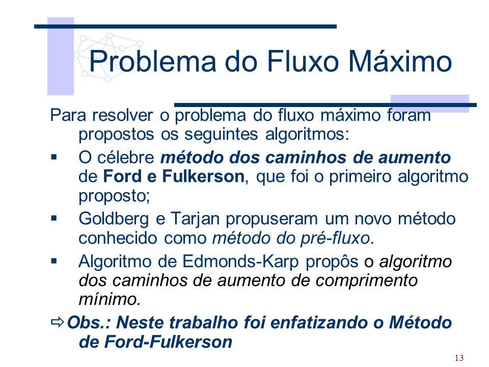 13 Problema do Fluxo Máximo Para resolver o problema do fluxo máximo foram propostos os seguintes algoritmos:  O célebre método dos caminhos de aumen