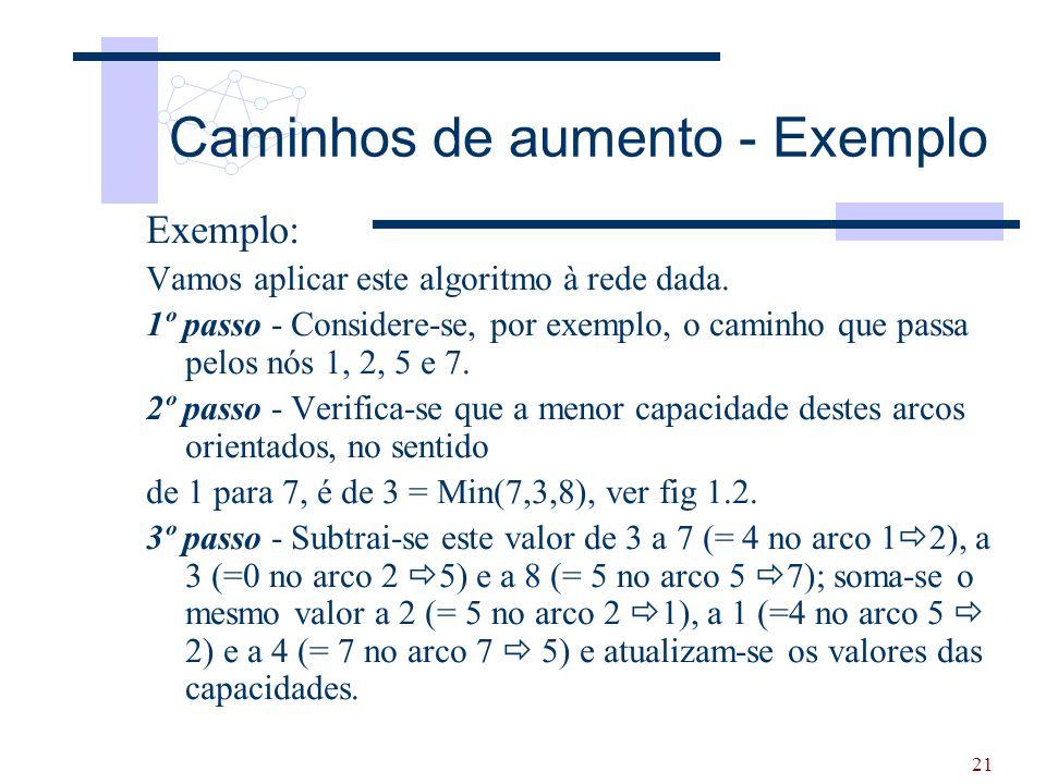 21 Exemplo: Vamos aplicar este algoritmo à rede dada. 1º passo - Considere-se, por exemplo, o caminho que passa pelos nós 1, 2, 5 e 7. 2º passo - Veri