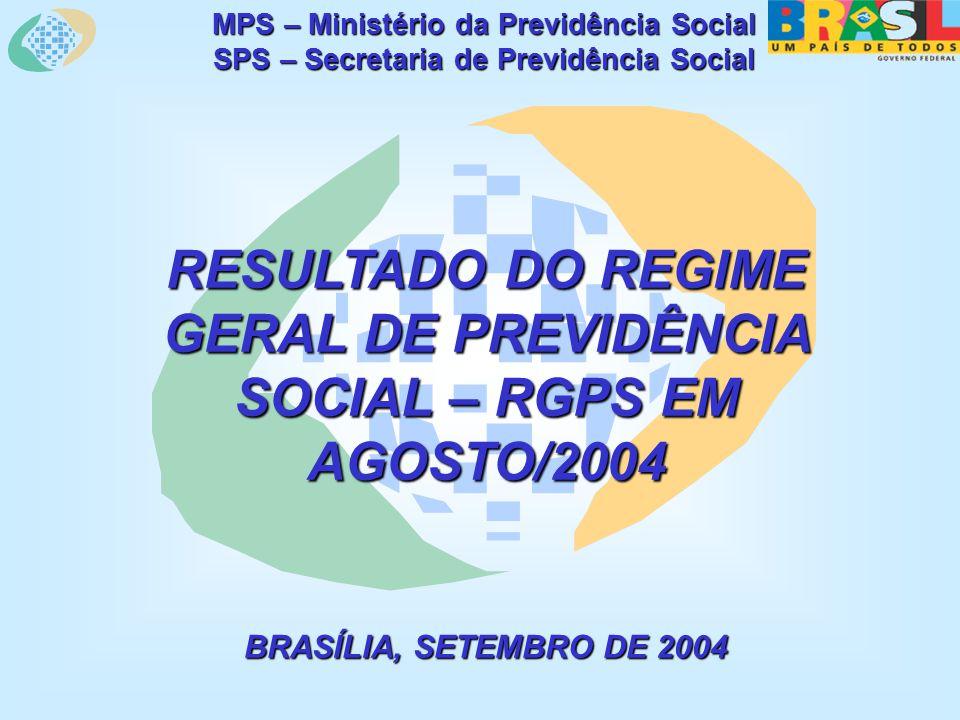 MPS – Ministério da Previdência Social SPS – Secretaria de Previdência Social RESULTADO DO REGIME GERAL DE PREVIDÊNCIA SOCIAL – RGPS EM AGOSTO/2004 BRASÍLIA, SETEMBRO DE 2004