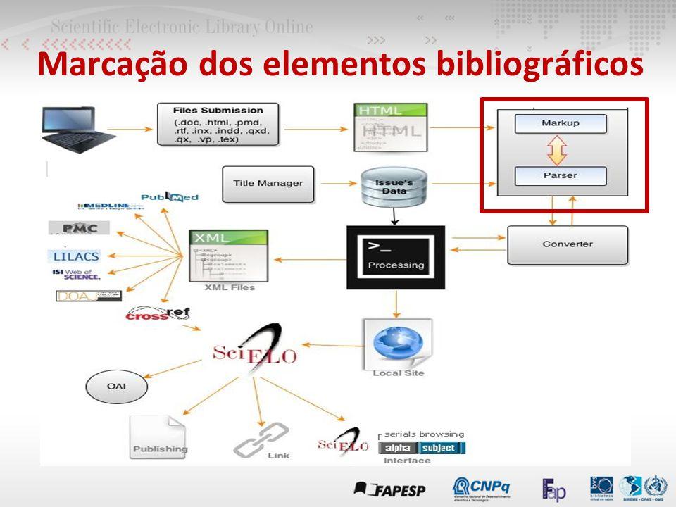 Marcação dos elementos bibliográficos