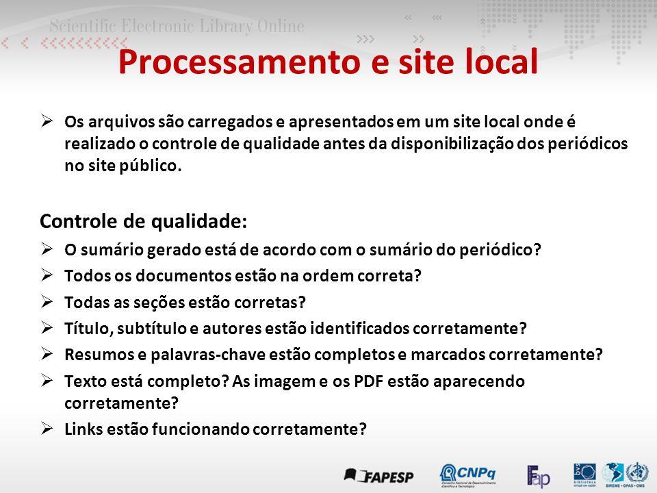  Os arquivos são carregados e apresentados em um site local onde é realizado o controle de qualidade antes da disponibilização dos periódicos no site público.
