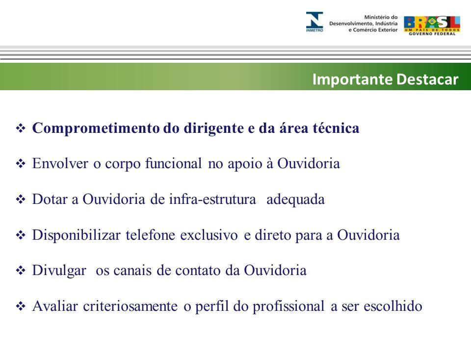 Marca do evento  Comprometimento do dirigente e da área técnica  Envolver o corpo funcional no apoio à Ouvidoria  Dotar a Ouvidoria de infra-estrut