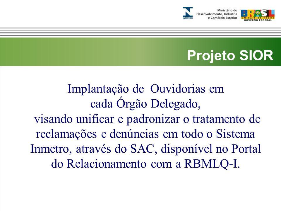Marca do evento Implantação de Ouvidorias em cada Órgão Delegado, visando unificar e padronizar o tratamento de reclamações e denúncias em todo o Sistema Inmetro, através do SAC, disponível no Portal do Relacionamento com a RBMLQ-I.