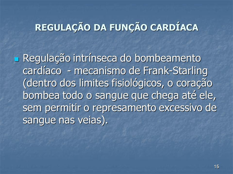 15 REGULAÇÃO DA FUNÇÃO CARDÍACA Regulação intrínseca do bombeamento cardíaco - mecanismo de Frank-Starling (dentro dos limites fisiológicos, o coração